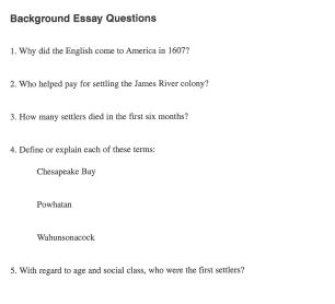 Essay On Jamestown